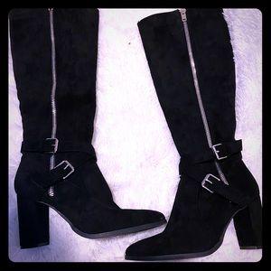 Knee high suede chunky heel boots